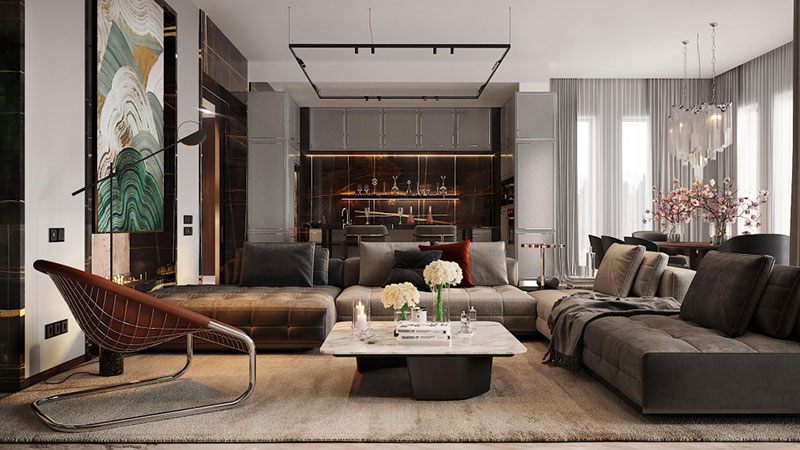 A Real Estate Living Room Staged for Effective Storytelling