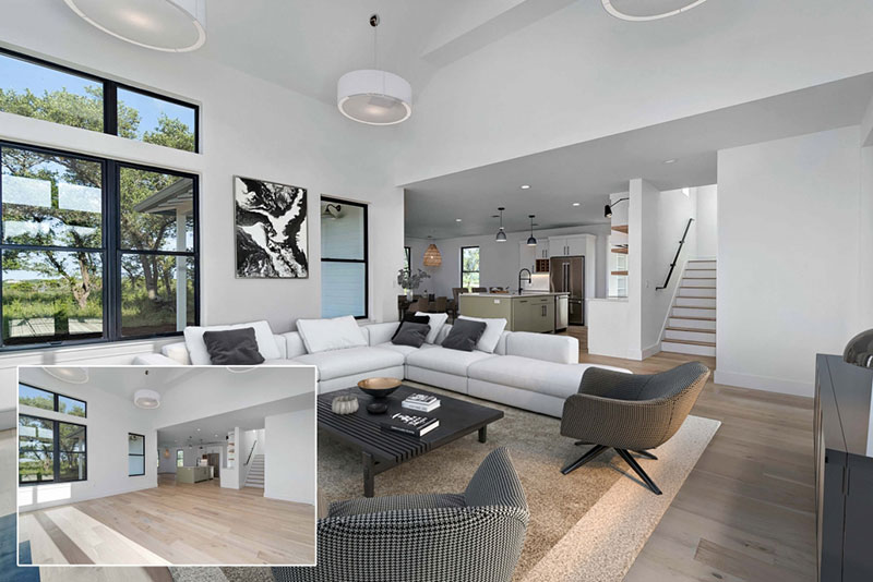 Before and After Images of a Virtually Staged Luxury House with Design Furniture