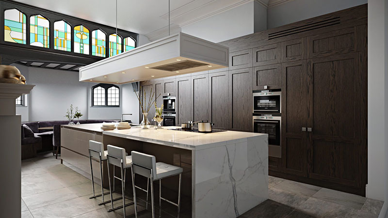 Kitchen CG Staging With Contrasting Wood and Stone