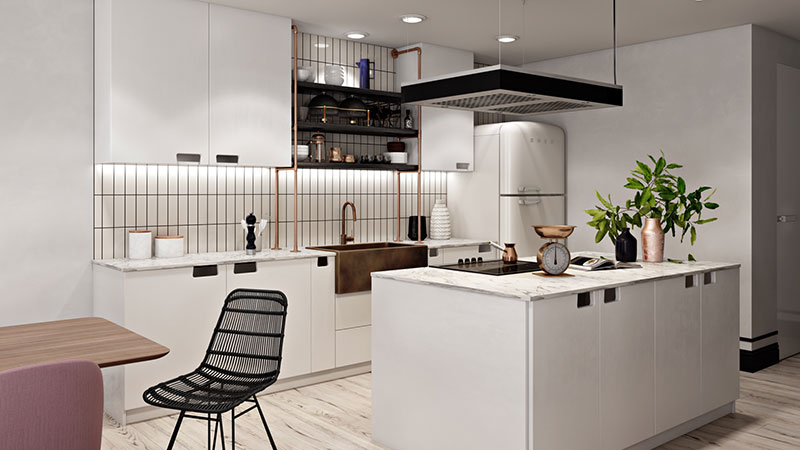 A Modern Kitchen Staged in a Mid-Century Style