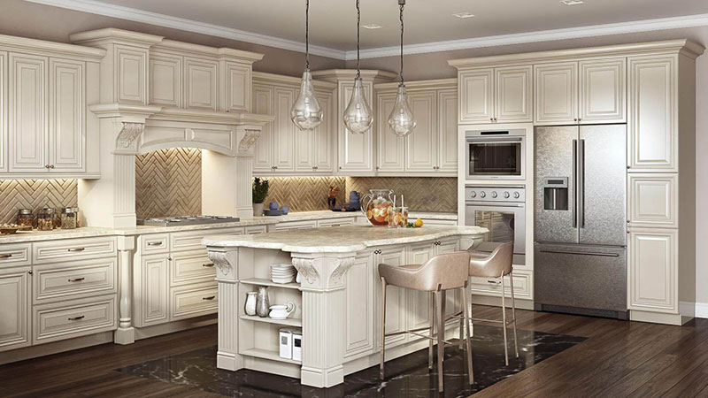 A Light Kitchen Staged in Traditional Interior Style