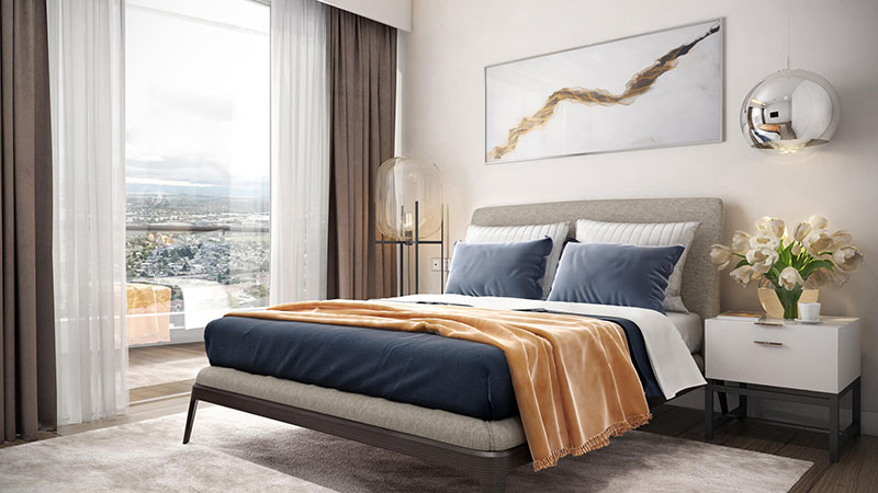 A Bedroom Staging with Wall Art for a Luxury Home