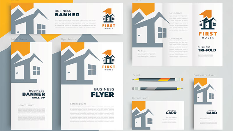 Vector Examples of Various Marketing Materials for Real Estate