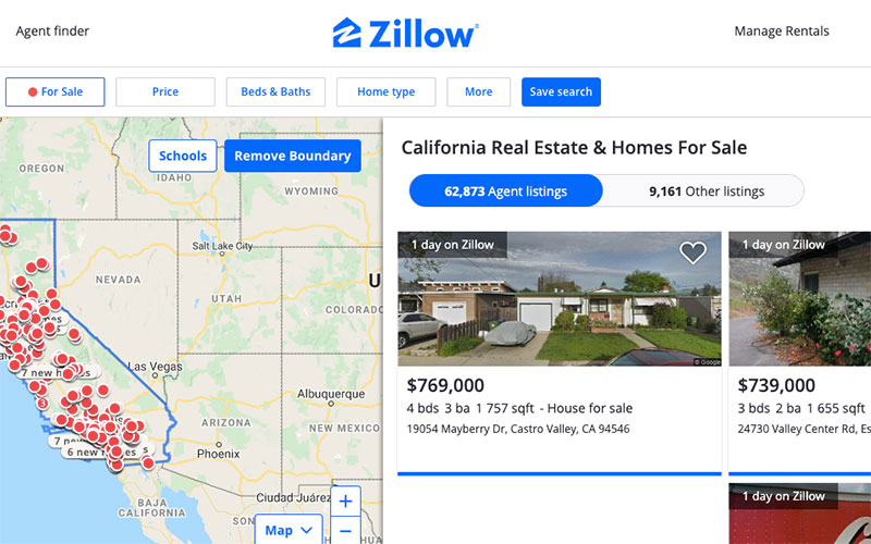 A Screenshot of a Website for Real Estate Agents and Marketers