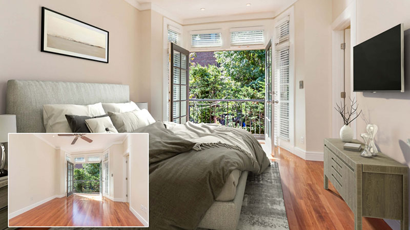 Before and After Doing Virtual Staging of a Bedroom to Sell a Home at a Good Price