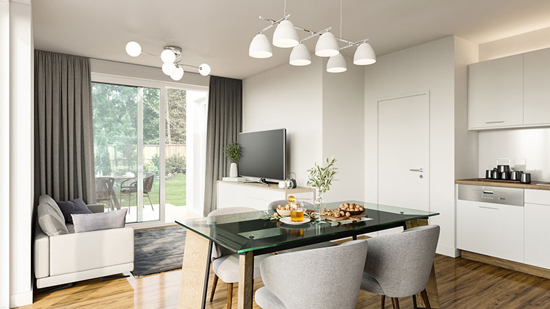 Staging an Empty Room as a Living and Dining Area to Sell the Property