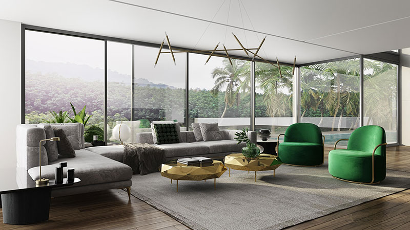 Virtual Staging of a Living Area with a View That Sells