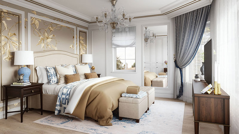 A Bedroom Luxury Interior Design Made with Expensive Materials and Textures