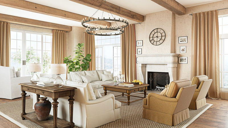 Restoration and Renovation of the Interior Design for a Family Room in a Country Style