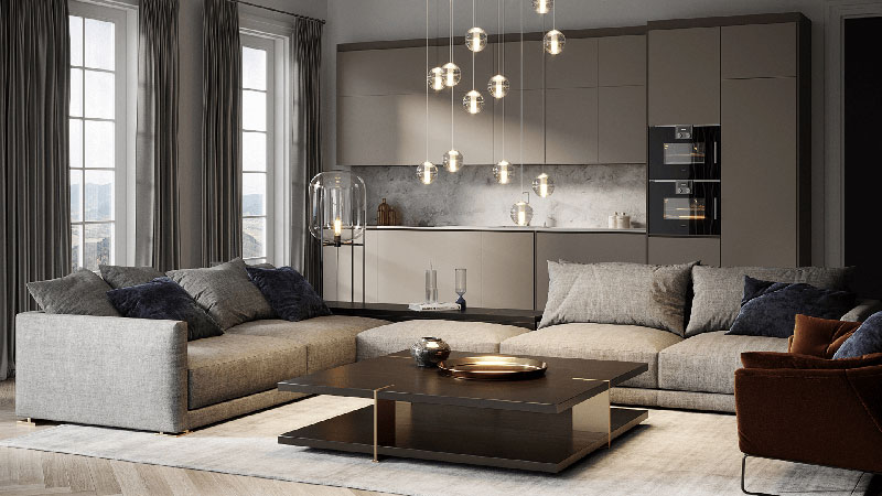 Renovated Interior with Design Furniture, Accessories and Home Appliances