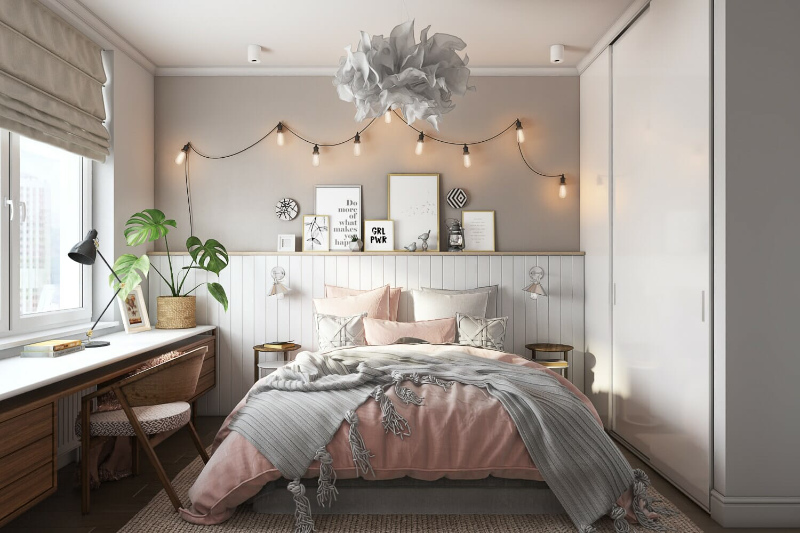 A CG Image of Virtually Staged Bedroom for a Property Brochure