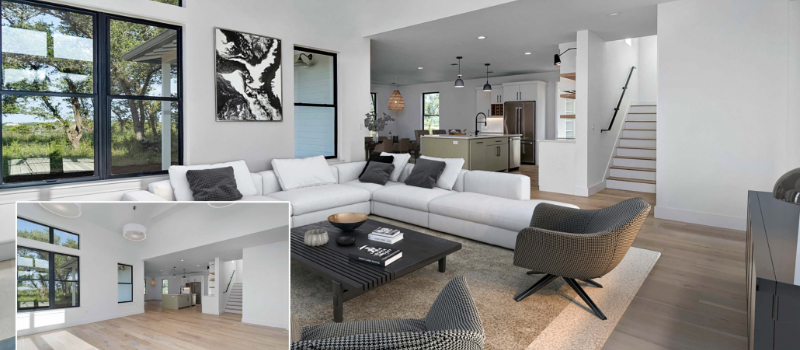 A Collage of Images Before and After Virtual Staging for a House Without Furniture