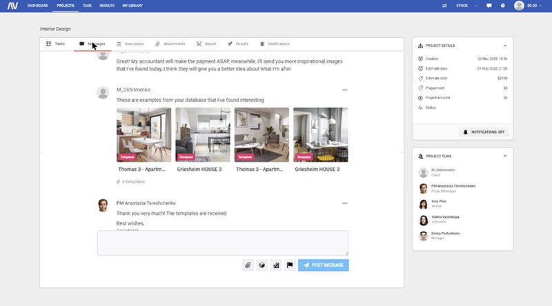 A Snapshot of Working in Our CRM-System on Digital Staging Project for a House Without Furniture