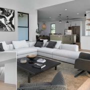 A Collage of Before and After Virtual Staging for a House Without Furniture