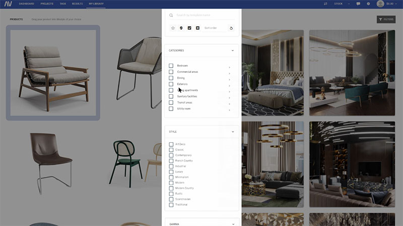 A Screenshot of a Process of Selecting Furniture Pieces for Virtual Interior Design