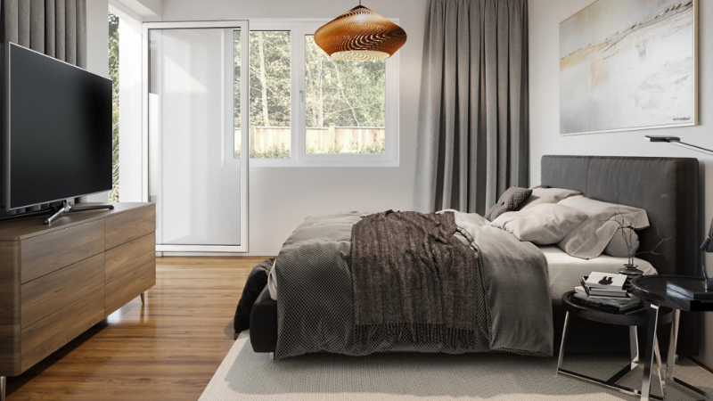 A 3D Image of a Bedroom Virtual Interior Design as a Result of the Creative Process