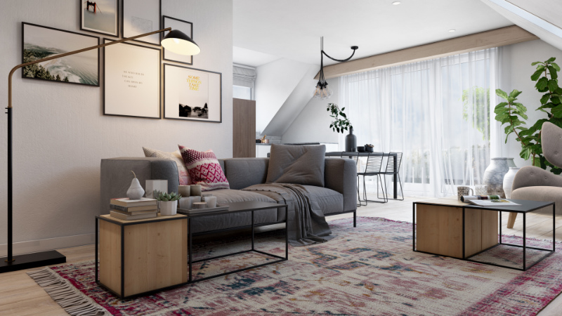 Furniture Staging of a Living Room with Homey Textiles and Decor