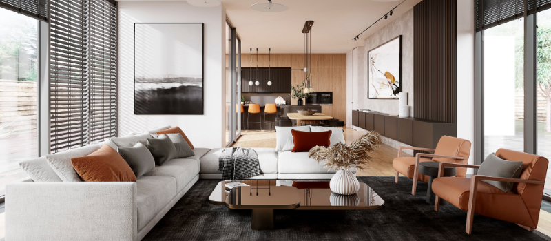 Furniture Staging of a Living Room in a Modern Interior Style