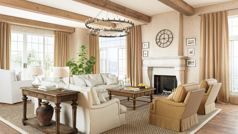 Using Natural Materials for Furniture Staging of a Living Room