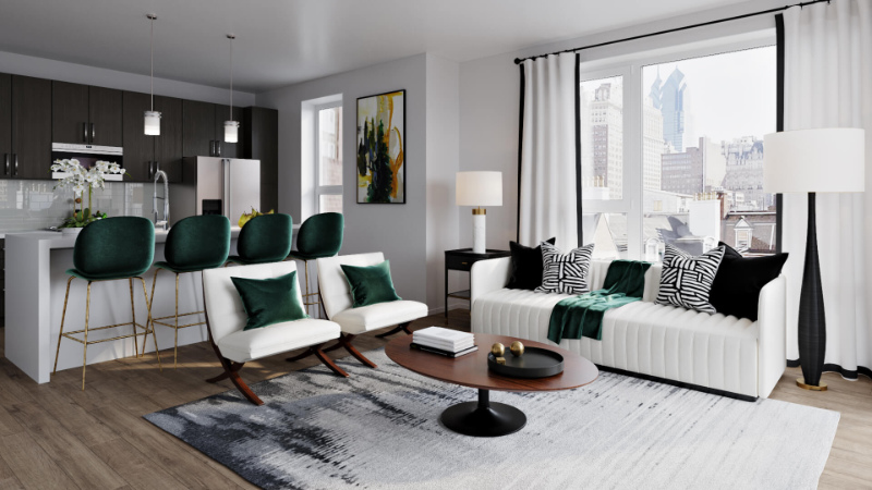 Staging a Furniture in a Living Room Using Neutral Colors and Bright Accents