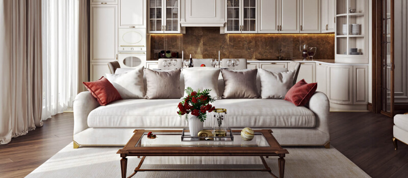 An Elegant and Homey Living Room Virtually Staged for a Realtor's Website